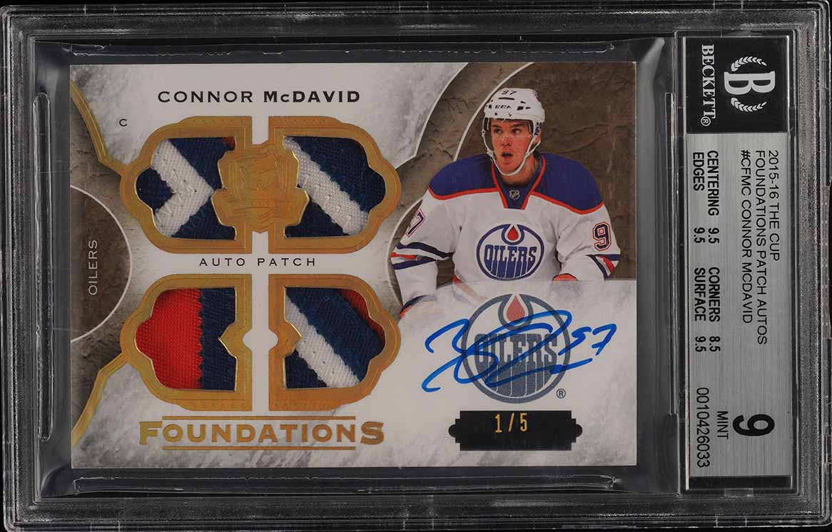 2015-16 The Cup Foundations Connor McDavid ROOKIE RC PATCH AUTO 1/5 BGS 9 (PWCC) - Image 1
