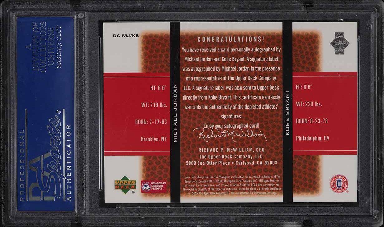 2003 UD Top Prospects Dare To Compare Michael Jordan Kobe Bryant AUTO /25 PSA 10 - Image 2