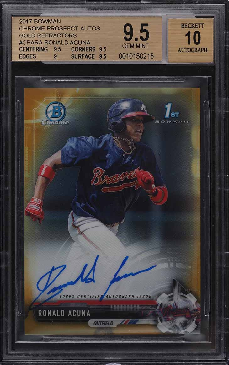 2017 Bowman Chrome Gold Refractor Ronald Acuna ROOKIE RC AUTO /50 BGS 9.5 GEM MT - Image 1