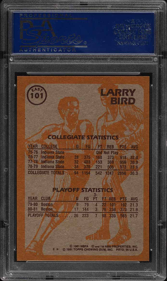1981 Topps Basketball Larry Bird EAST #101 PSA 9 MINT (PWCC) - Image 2