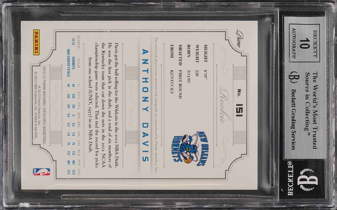 2012 National Treasures Anthony Davis ROOKIE RC AUTO PATCH /199 RC BGS 9 (PWCC) - Image 2