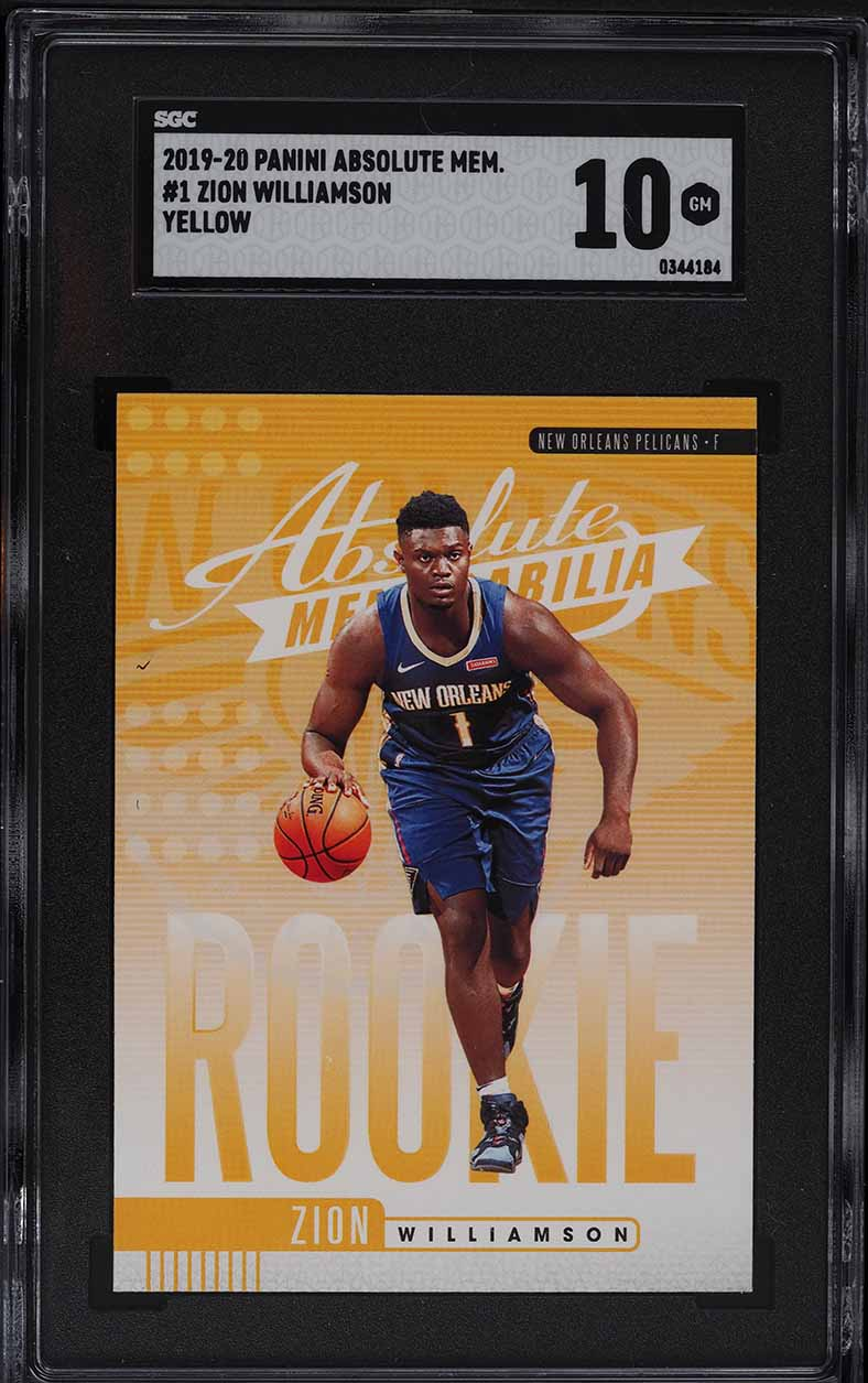 2019 Absolute Memorabilia Yellow Zion Williamson ROOKIE RC #1 SGC 10 GEM MINT - Image 1