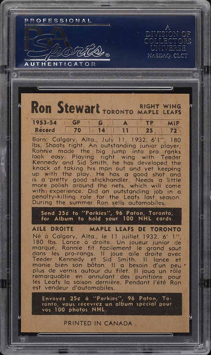 1954 Parkhurst Ron Stewart #23 PSA 8 NM-MT - Image 2