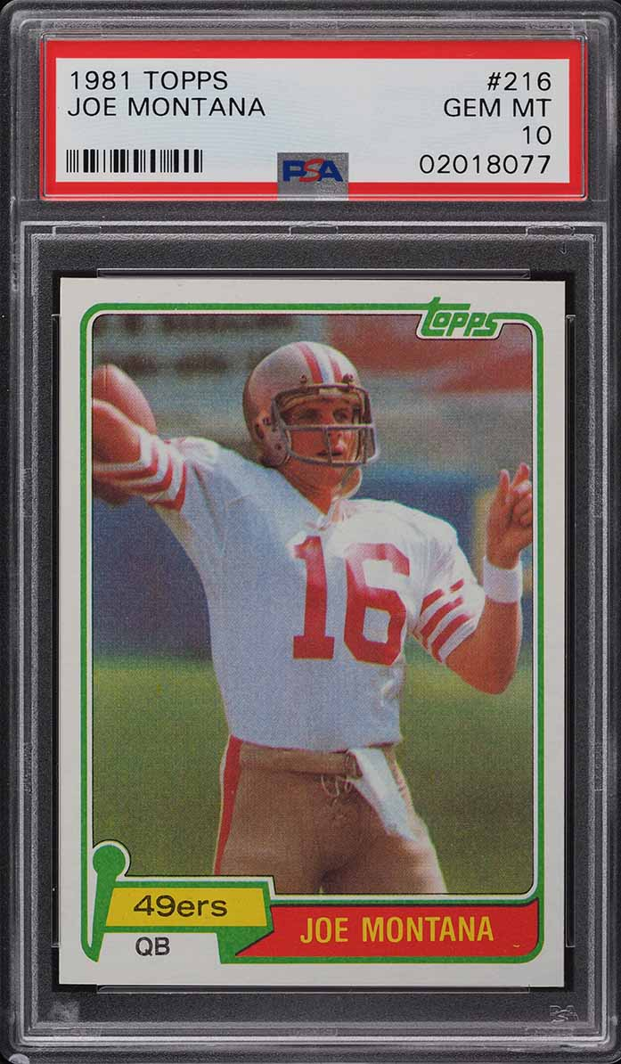 1981 Topps Football Joe Montana ROOKIE RC #216 PSA 10 GEM MINT - Image 1