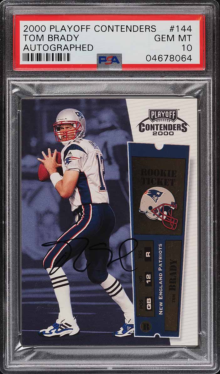 2000 Playoff Contenders Tom Brady ROOKIE RC AUTO #144 PSA 10 GEM MINT - Image 1