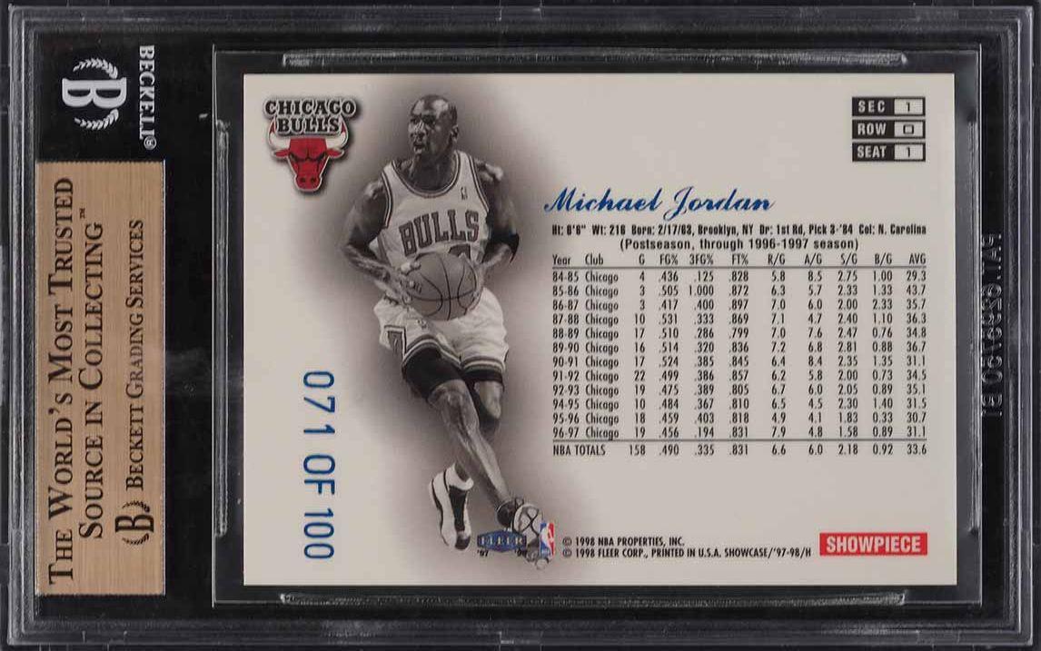 1997 Flair Showcase Legacy Collection Row 0 Michael Jordan /100 #1 BGS 9.5 GEM - Image 2