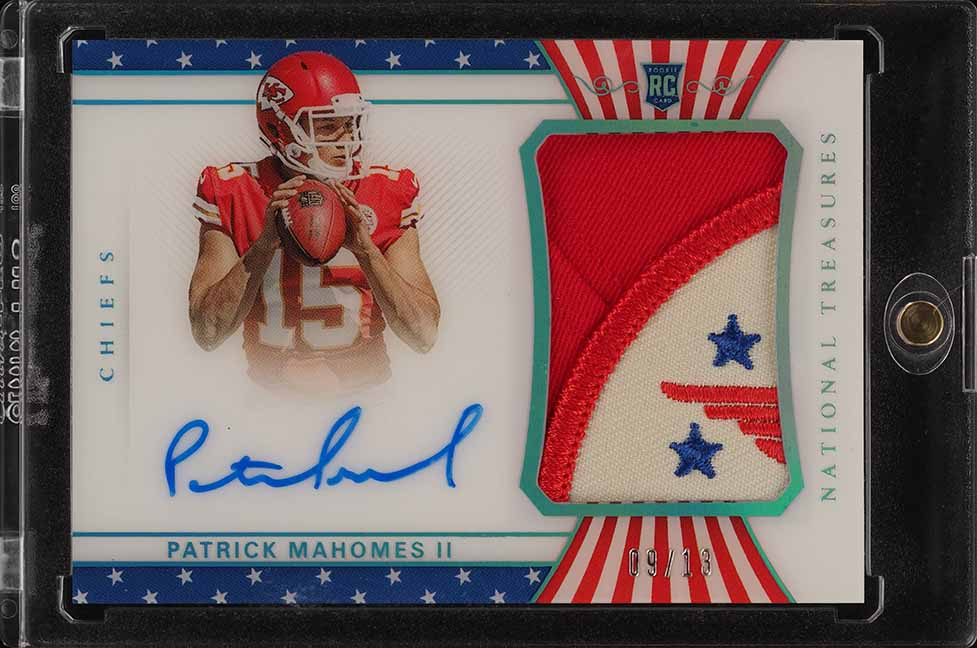 2017 National Treasures S & S Patrick Mahomes II ROOKIE RC AUTO PATCH /13 (PWCC) - Image 1