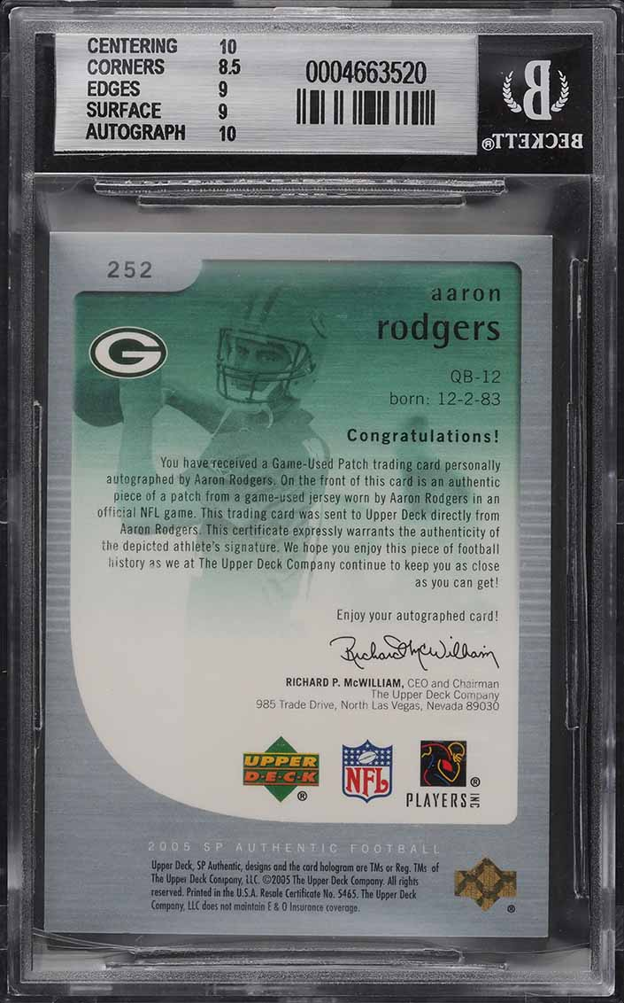 2005 SP Authentic Gold Aaron Rodgers ROOKIE RC PATCH AUTO /25 #252 BGS 9 MINT - Image 2
