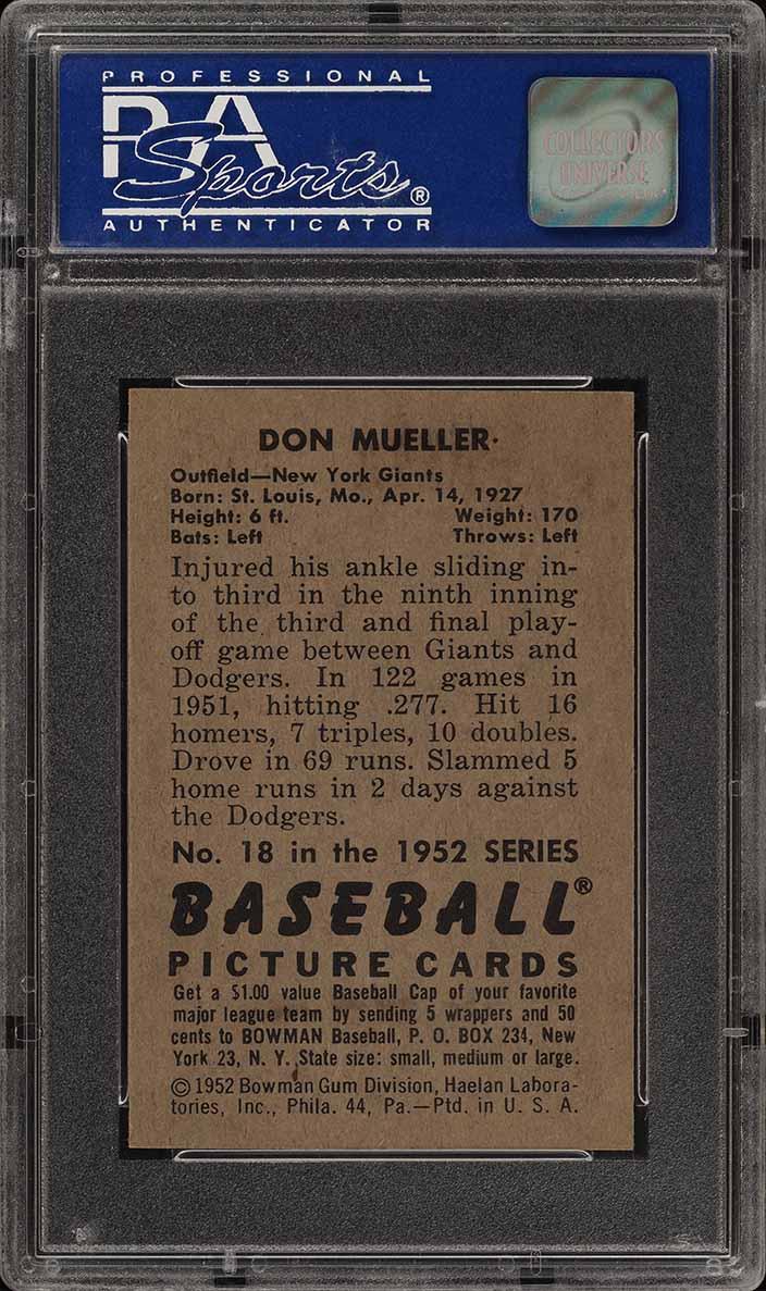 1952 Bowman SETBREAK Don Mueller #18 PSA 8 NM-MT (PWCC) - Image 2