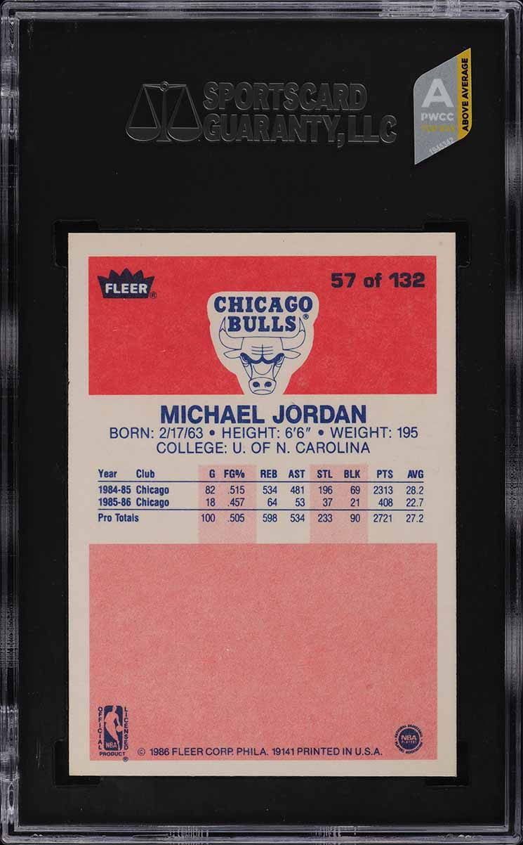 1986 Fleer Basketball Michael Jordan ROOKIE RC #57 SGC 9.5 MINT+ (PWCC-A) - Image 2