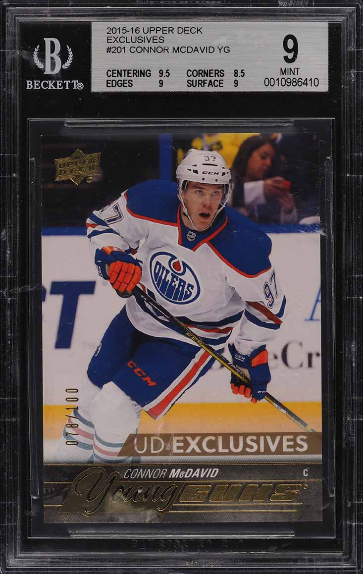 2015 UD Exclusives Young Guns Connor McDavid ROOKIE RC /100 #201 BGS 9 MT (PWCC) - Image 1