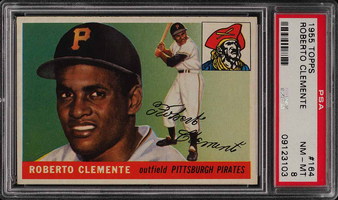 1955 Topps Roberto Clemente ROOKIE RC #164 PSA 8 NM-MT (PWCC) - Image 1