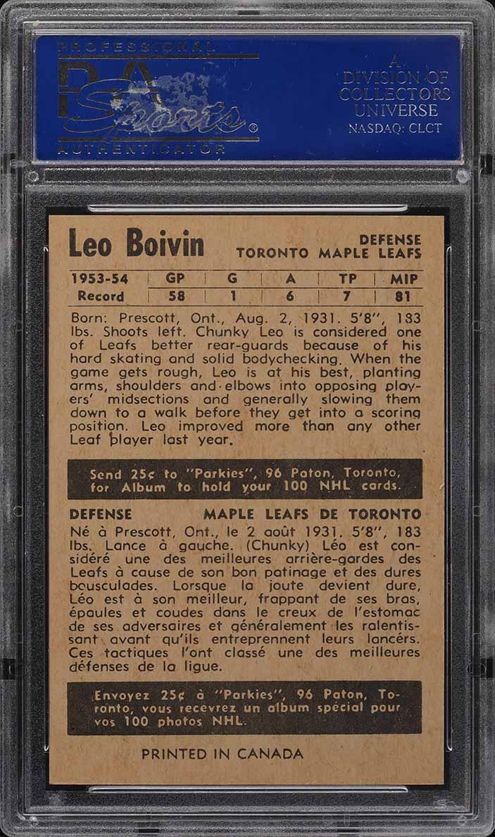 1954 Parkhurst Leo Boivin #26 PSA 8 NM-MT - Image 2