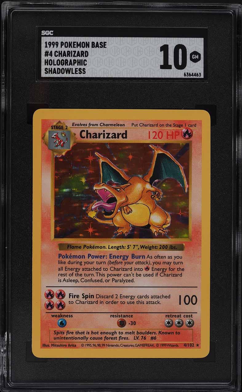 1999 Pokemon Base Set Shadowless Holo Charizard #4 SGC 10 GEM MINT - Image 1