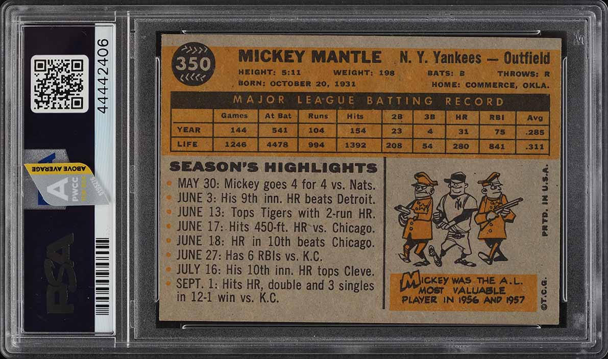1960 Topps Mickey Mantle #350 PSA 6 EXMT (PWCC-A) - Image 2