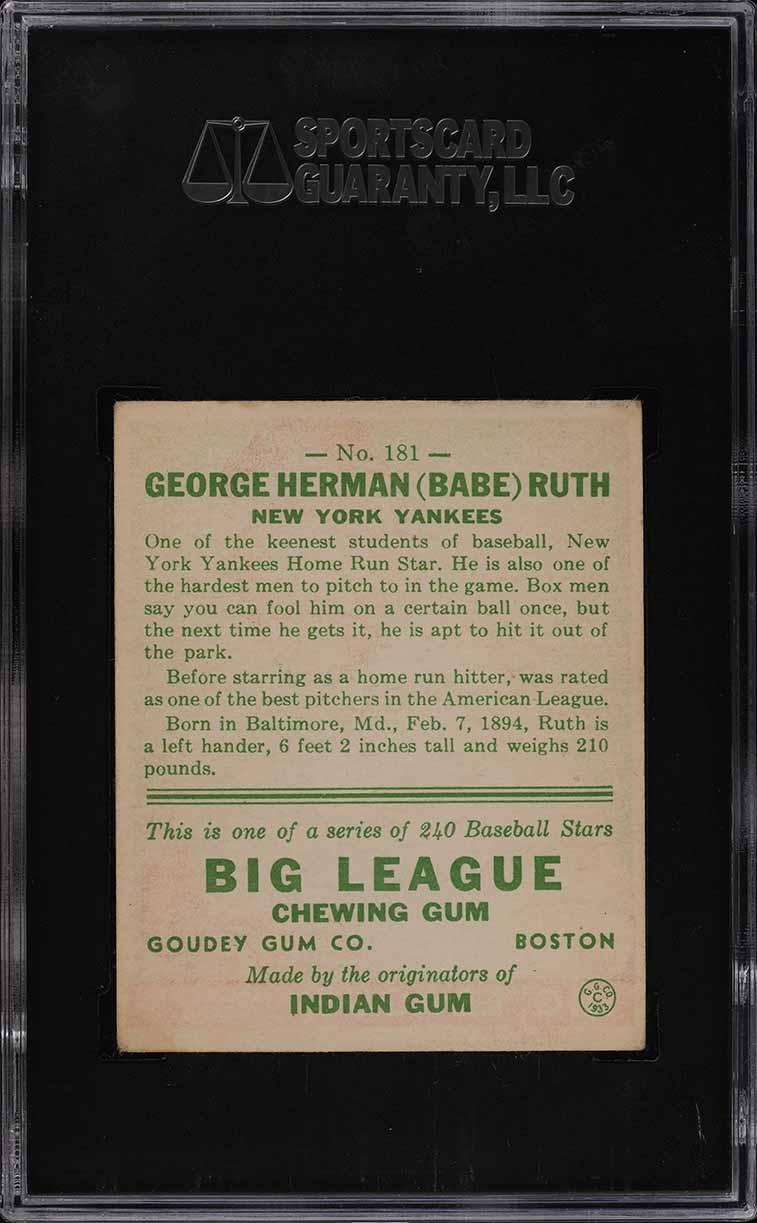 1933 Goudey Babe Ruth #181 SGC 5 EX (PWCC) - Image 2