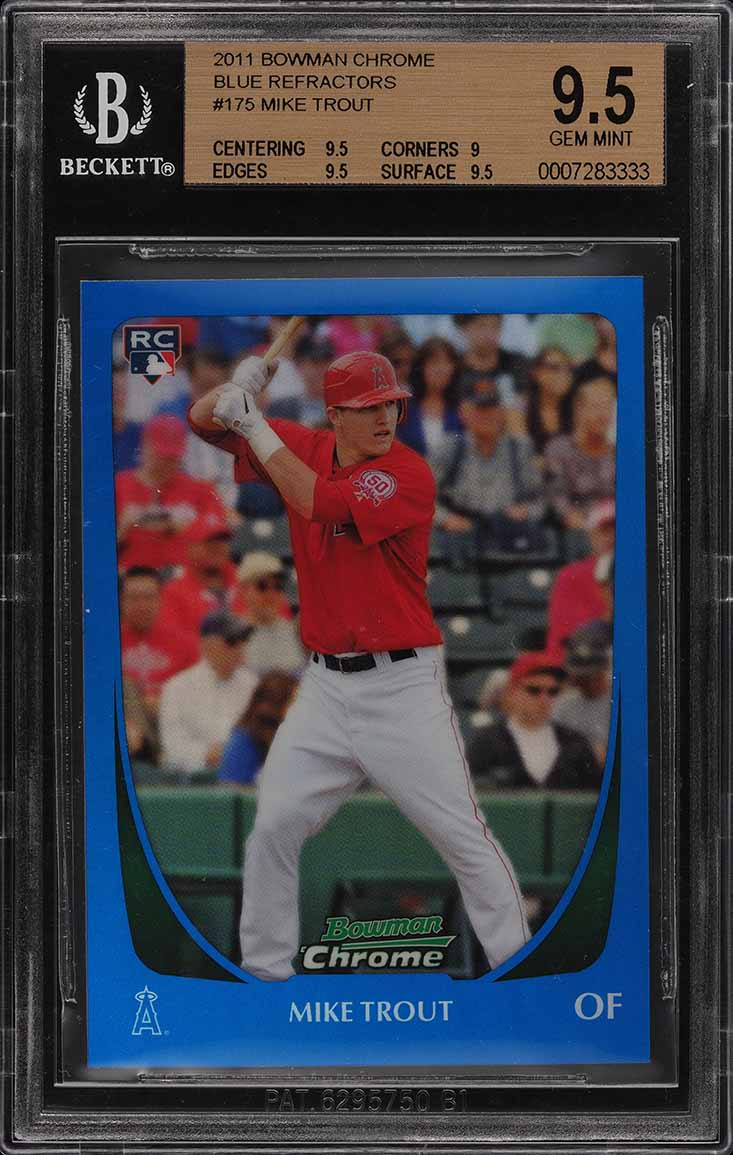 2011 Bowman Chrome Blue Refractor Mike Trout Rookie Rc 150 175 Bgs