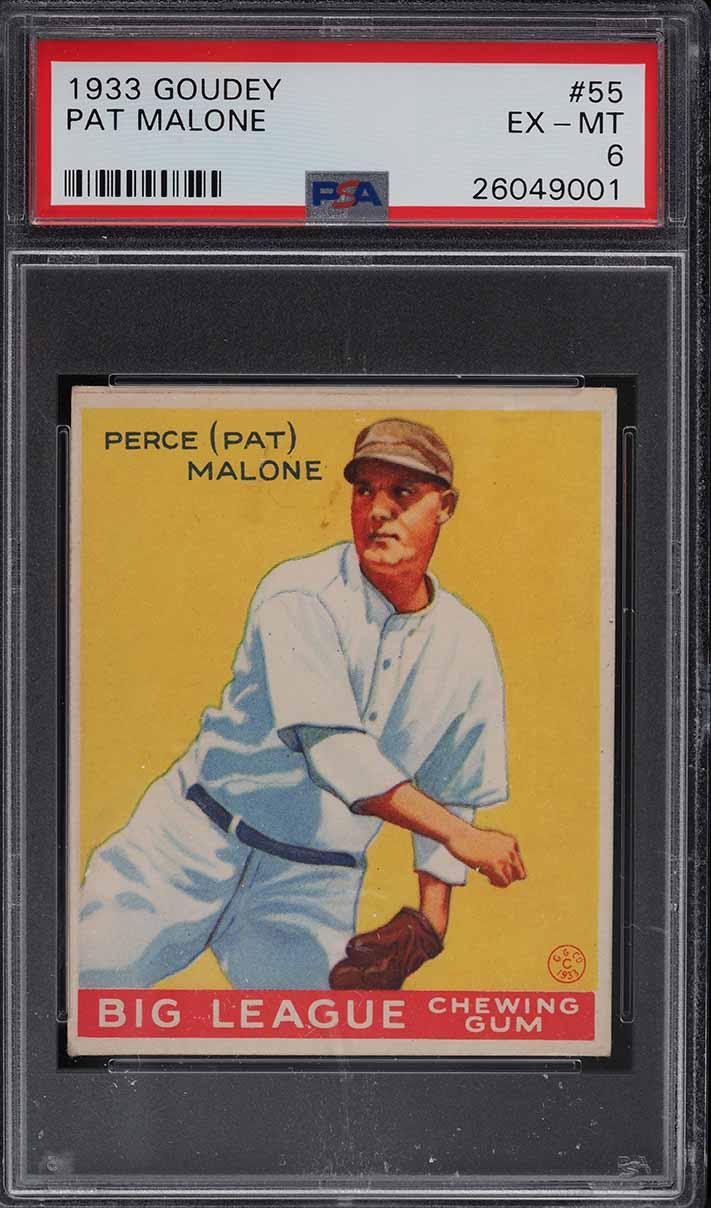 1933 Goudey Pat Malone #55 PSA 6 EXMT - Image 1