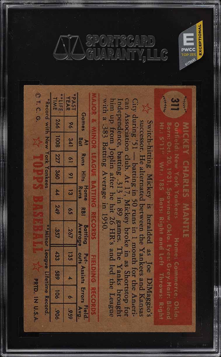 1952 Topps Mickey Mantle #311 SGC 5.5 EX+ (PWCC-E) - Image 2