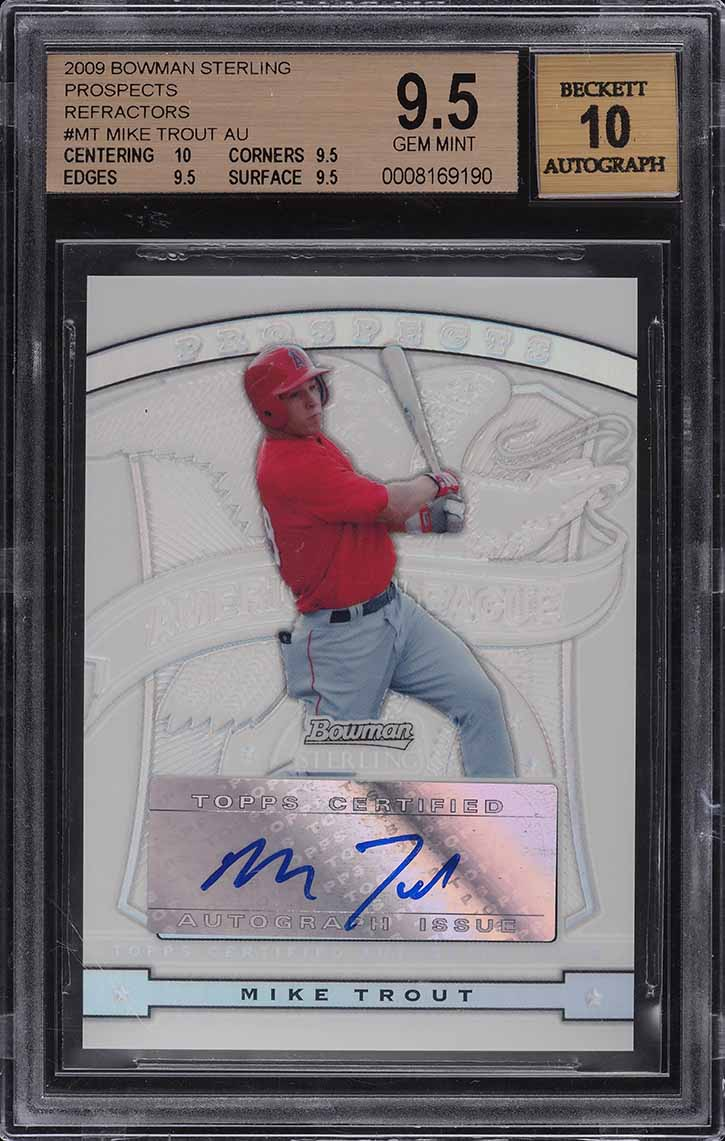 2009 Bowman Sterling Refractor Mike Trout ROOKIE RC AUTO /199 BGS 9.5 GEM MINT - Image 1