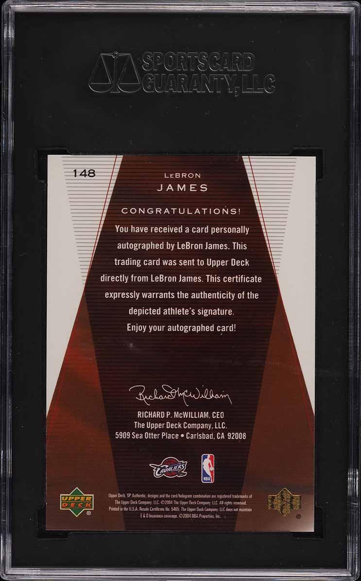 2003 SP Authentic Limited LeBron James ROOKIE '10' AUTO /50 #148 SGC 9.5 MINT+ - Image 2