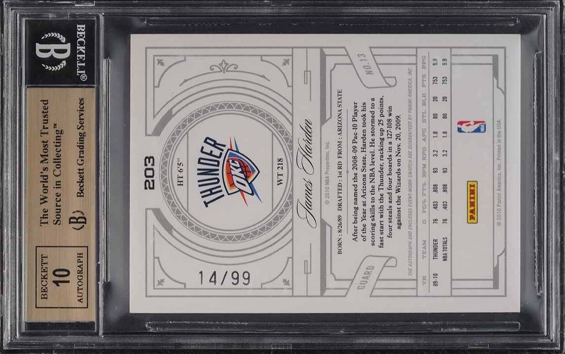 2009 National Treasures James Harden ROOKIE RC PATCH AUTO /99 #203 BGS 9.5 GEM - Image 2