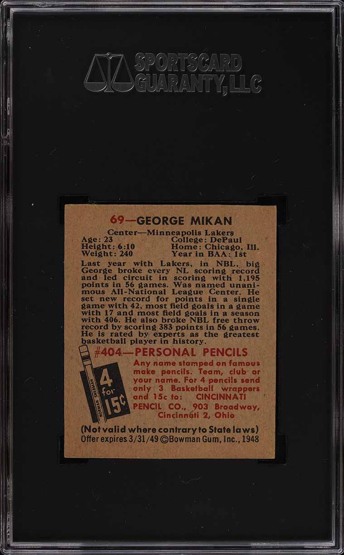 1948 Bowman Basketball George Mikan ROOKIE RC #69 SGC 8 NM-MT (PWCC) - Image 2