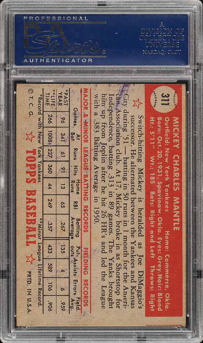 1952 Topps Mickey Mantle #311 PSA 3(mc) VG (PWCC) - Image 2