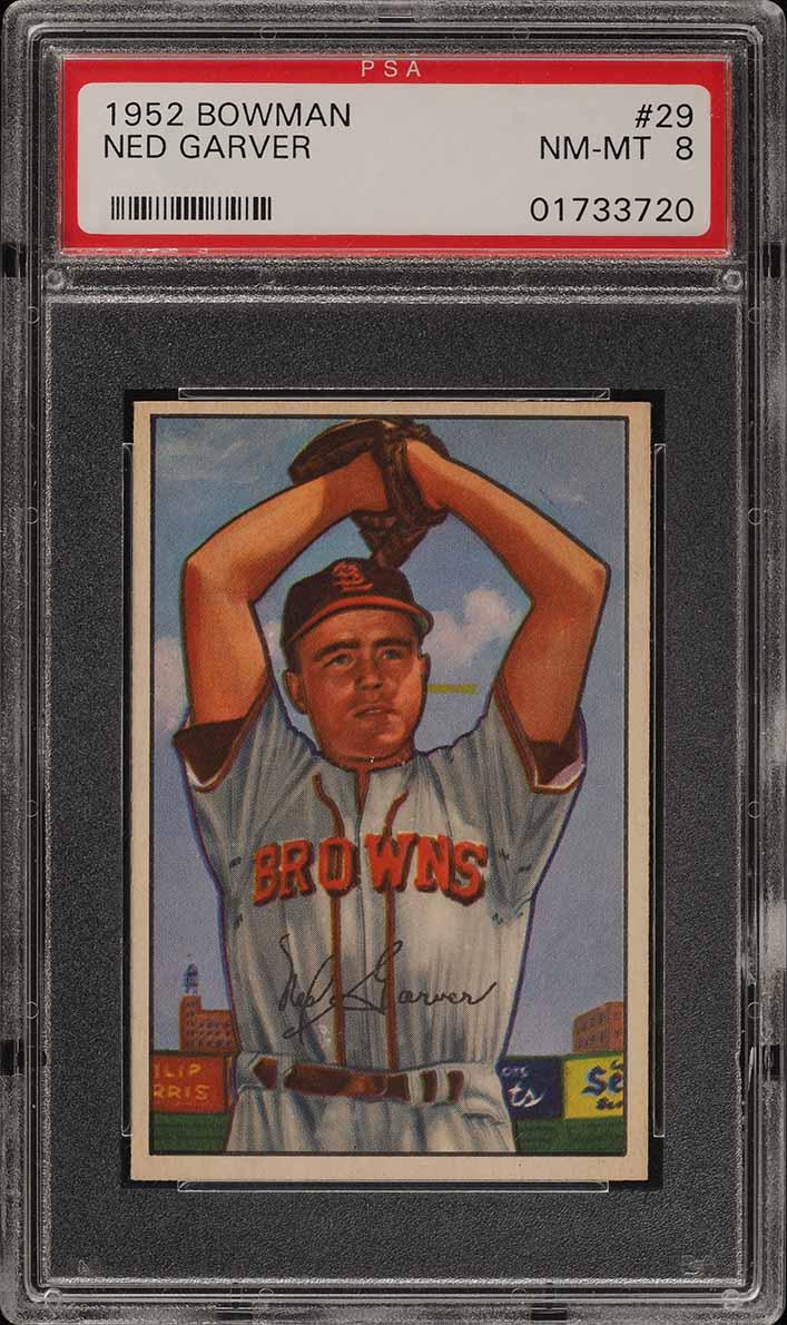 1952 Bowman SETBREAK Ned Garver #29 PSA 8 NM-MT (PWCC) - Image 1