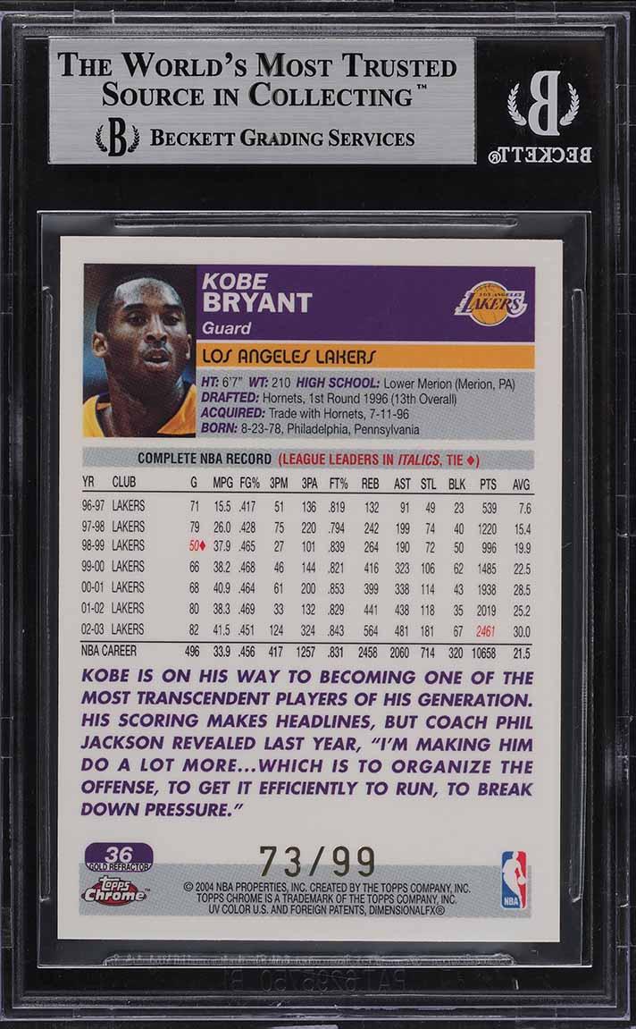 2003 Topps Chrome Gold Refractor Kobe Bryant /99 #36 BGS 8.5 NM-MT+ - Image 2
