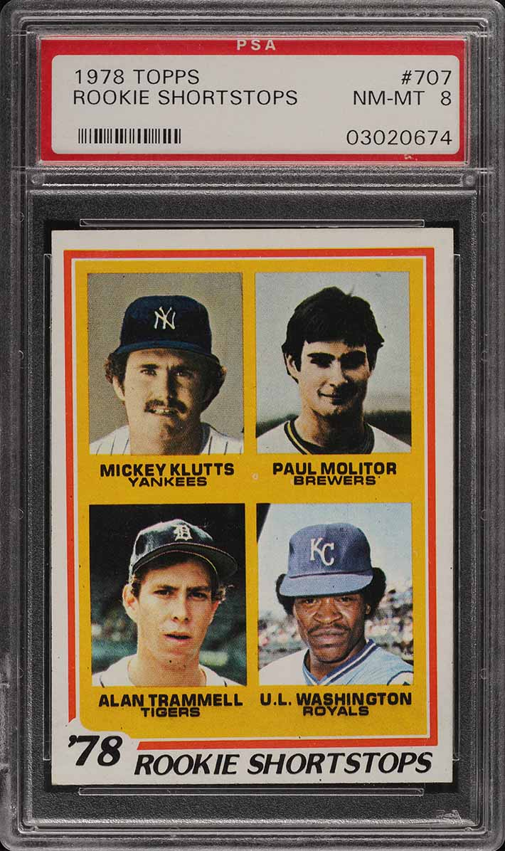 1978 Topps Alan Trammell & Paul Molitor ROOKIE RC #707 PSA 8 NM-MT (PWCC) - Image 1