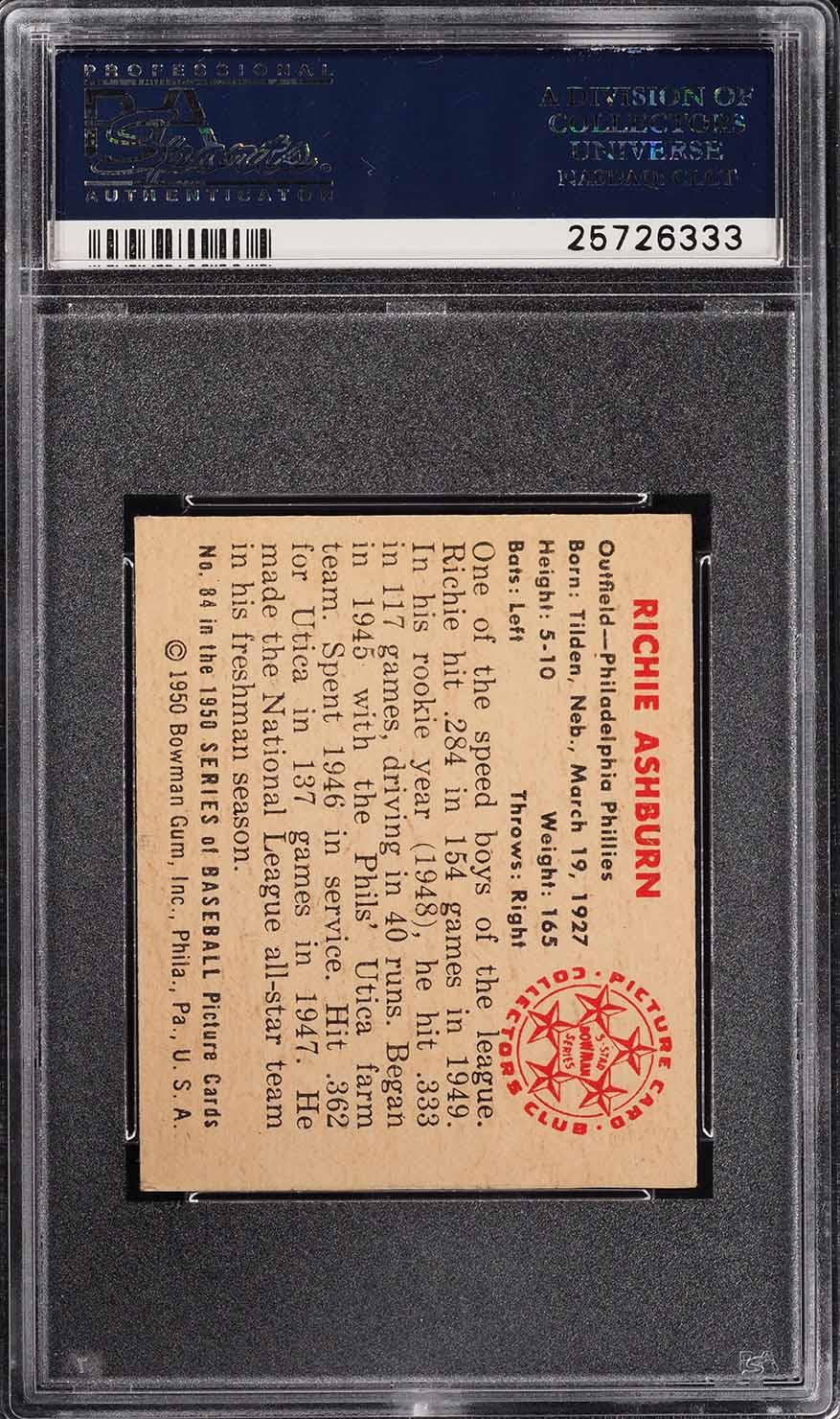 1950 Bowman Richie Ashburn #84 PSA 5 EX (PWCC) - Image 2