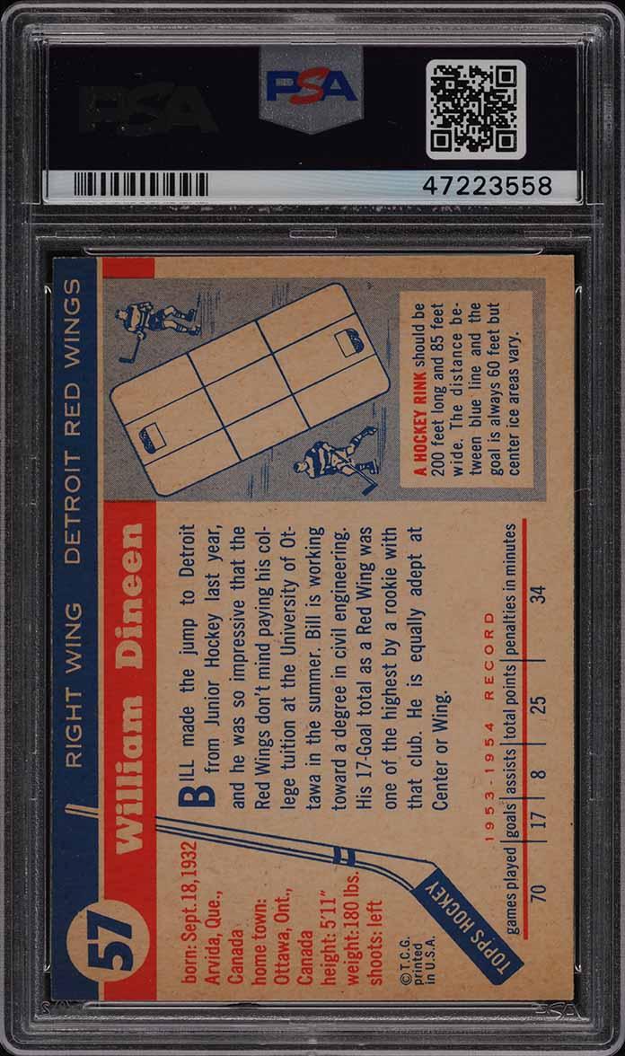 1954 Topps Hockey Bill Dineen #57 PSA 7 NRMT - Image 2