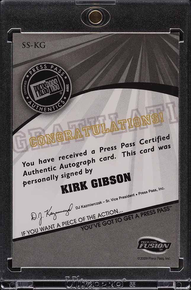 2009 Press Pass Fusion Kirk Gibson AUTO /25 #SS-KG - Image 2