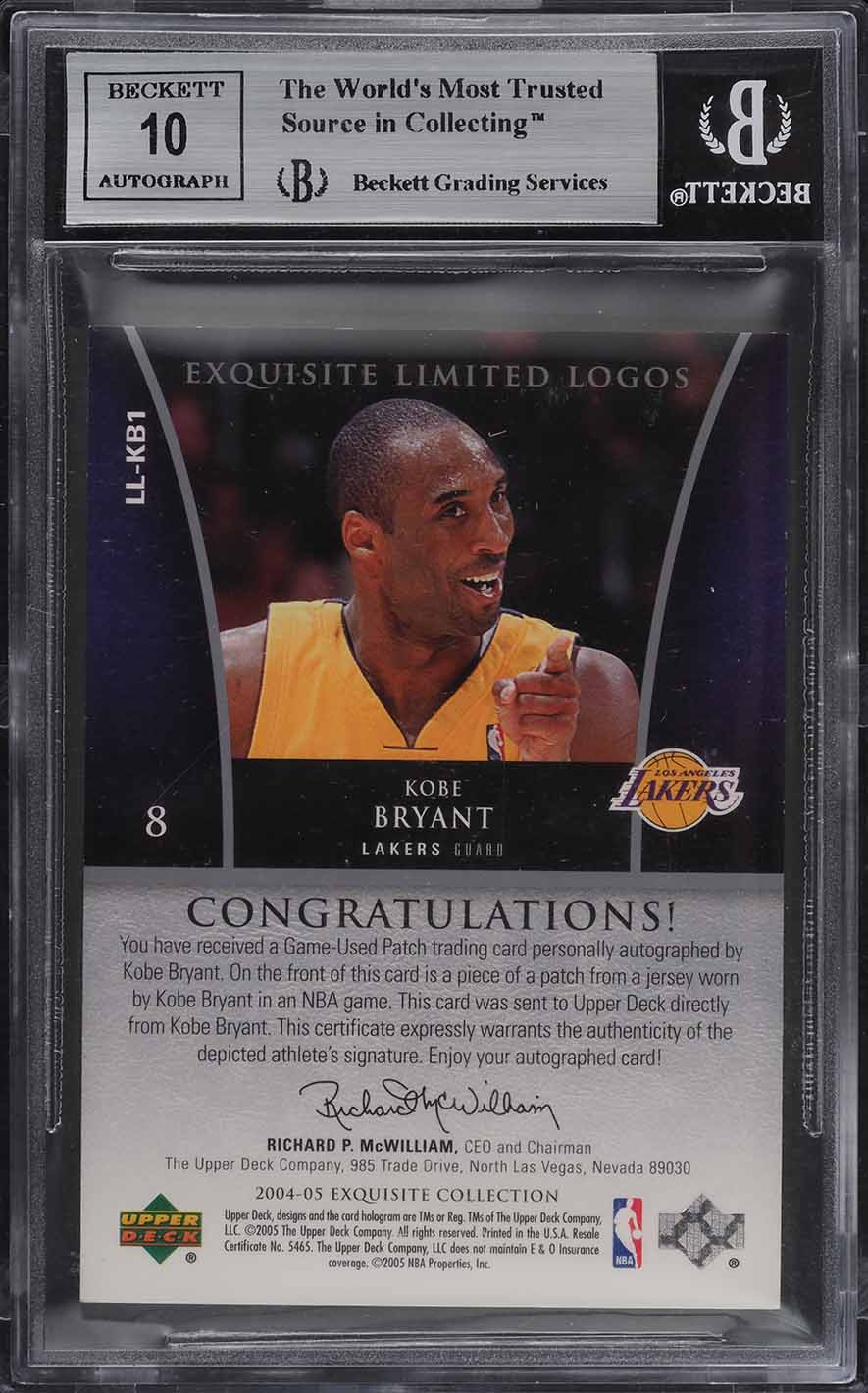 2004 Exquisite Collection Limited Logos Kobe Bryant PATCH AUTO /50 BGS 9 (PWCC) - Image 2