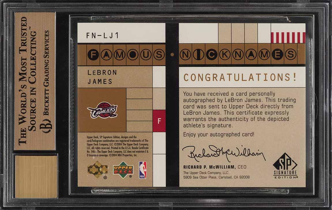 2003 SP Signature Famous Nicknames LeBron James ROOKIE AUTO /25 BGS 9.5 (PWCC) - Image 2