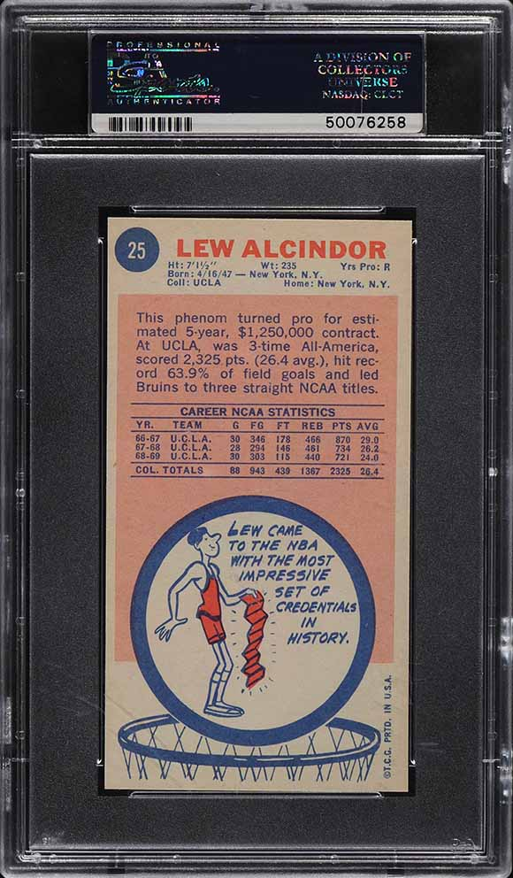 1969 Topps Basketball Lew Alcindor ROOKIE RC #25 PSA 8 NM-MT - Image 2