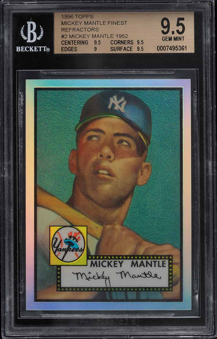 1996 Topps Mantle Finest Refractor Mickey Mantle 1952 Topps #2 BGS 9.5 GEM MINT - Image 1