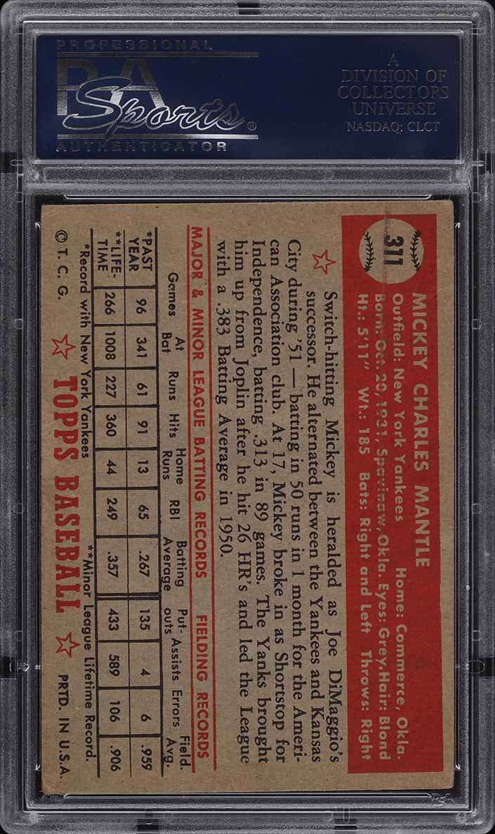 1952 Topps Mickey Mantle #311 PSA 4 VGEX (PWCC) - Image 2