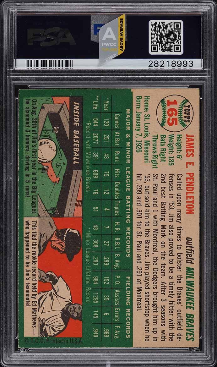 1954 Topps Jim Pendleton #165 PSA 9 MINT (PWCC-A) - Image 2