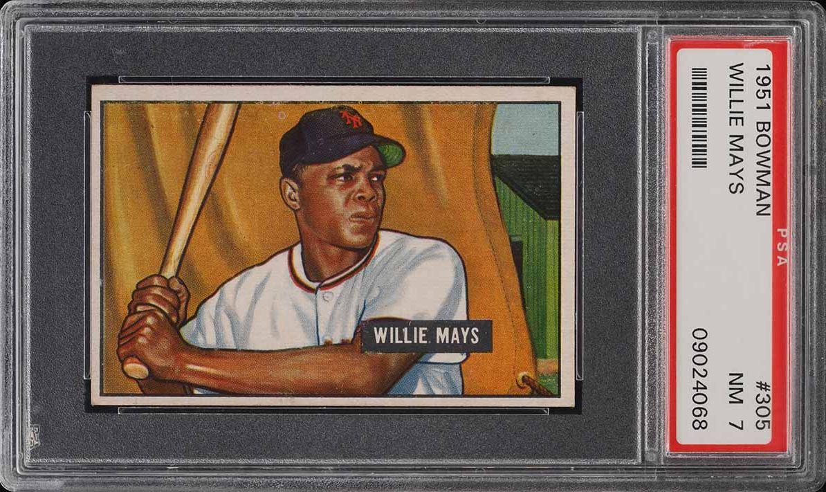 1951 Bowman Willie Mays ROOKIE RC #305 PSA 7 NRMT - Image 1