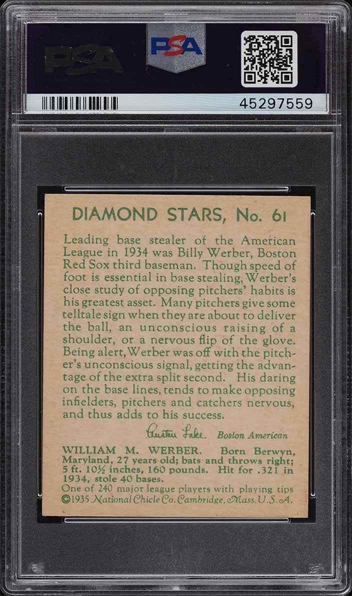 1935 Diamond Stars Billy Werber #61 PSA 6 EXMT - Image 2