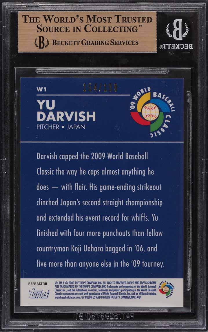 2009 Topps Chrome World Baseball Classic Blue Refractors Yu Darvish RC BGS 10 - Image 2