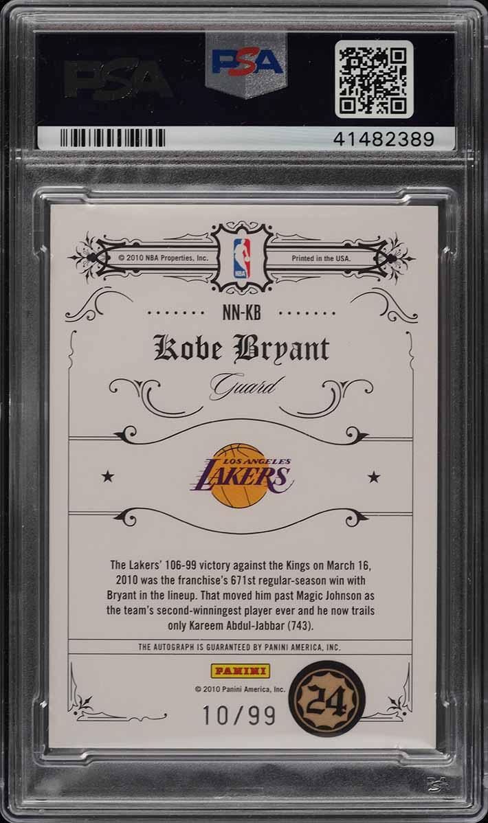2009 National Treasures Notable Names Kobe Bryant PSA/DNA 10 AUTO /99 PSA 10PWCC - Image 2