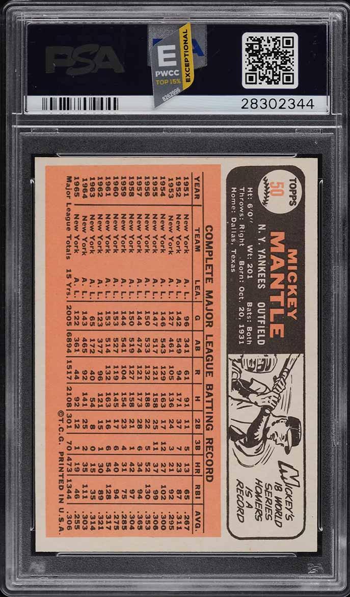 1966 Topps Mickey Mantle #50 PSA 9 MINT (PWCC-E) - Image 2