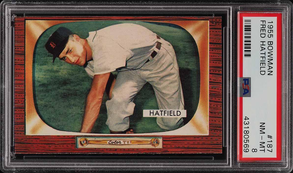 1955 Bowman Fred Hatfield #187 PSA 8 NM-MT (PWCC) - Image 1