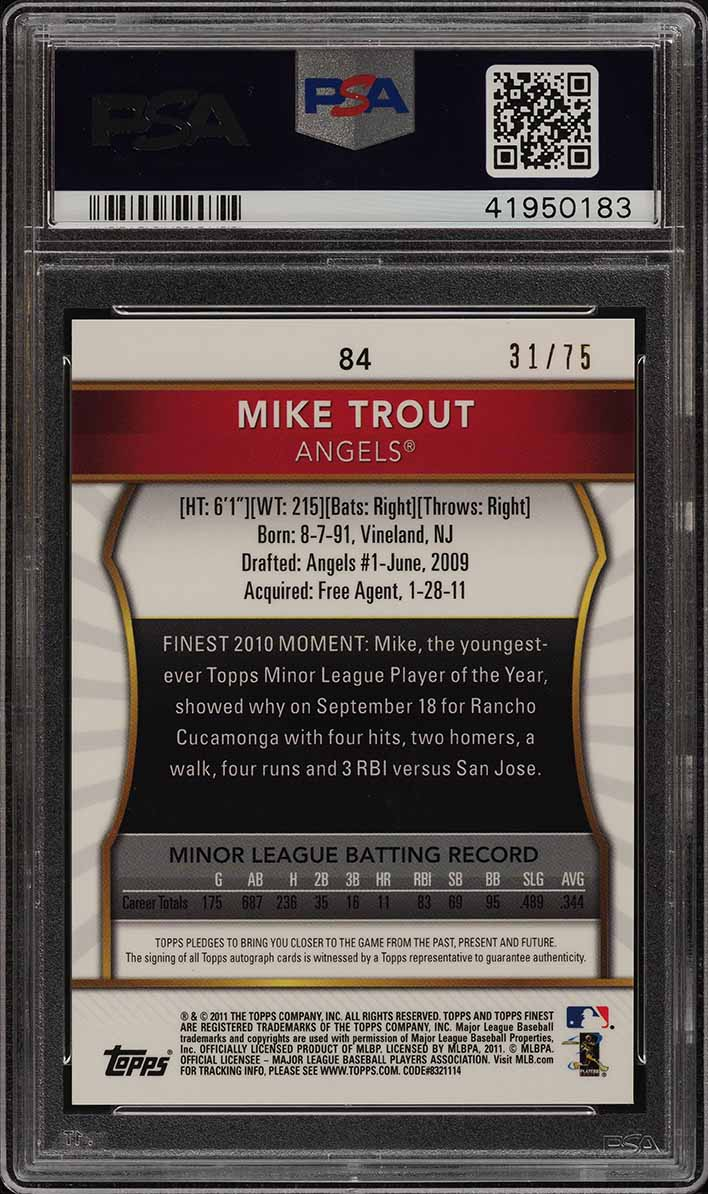 2011 Finest Gold Refractor Mike Trout ROOKIE RC AUTO /75 #84 PSA 10 GEM (PWCC) - Image 2