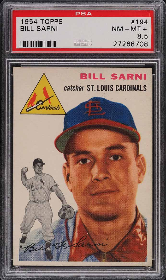 1954 Topps Bill Sarni #194 PSA 8.5 NM-MT+ - Image 1