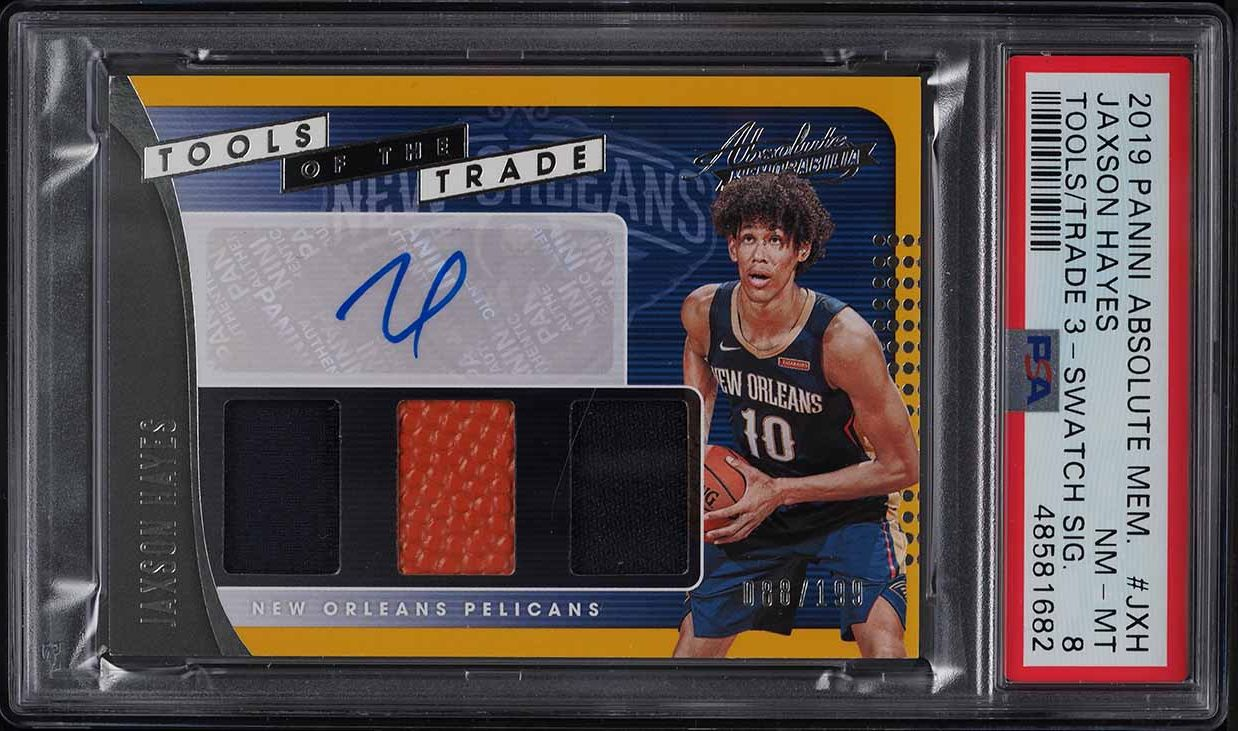 2019 Absolute Tools Of The Trade Jaxson Hayes ROOKIE RC PATCH AUTO /199 PSA 8 - Image 1