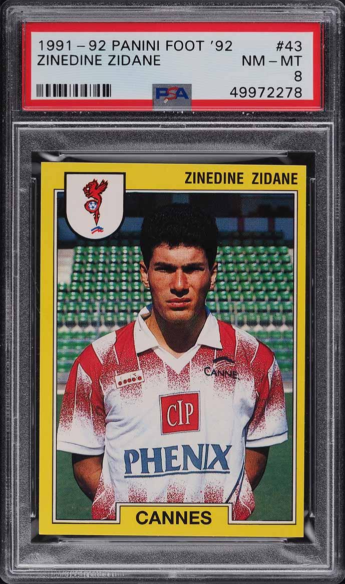 1991 Panini Foot '92 Soccer Zinedine Zidane ROOKIE RC #43 PSA 8 NM-MT - Image 1